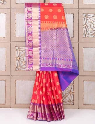 Red and purple color silk wedding saree