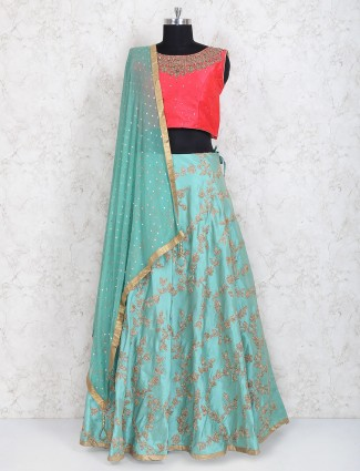 Red and sea green designer lehenga choli