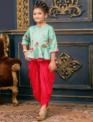 Red and sea green punjabi dhoti suit