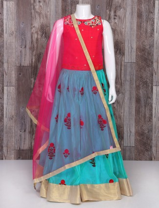 Red and sky blue silk choli suit