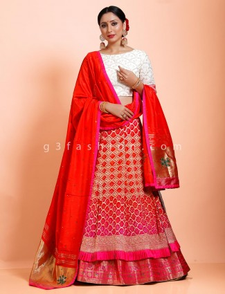 Red and white bandhej designer half n half lehenga choli