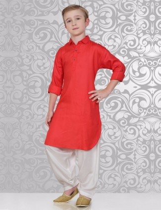 Red and white cotton festive wear pathani suit