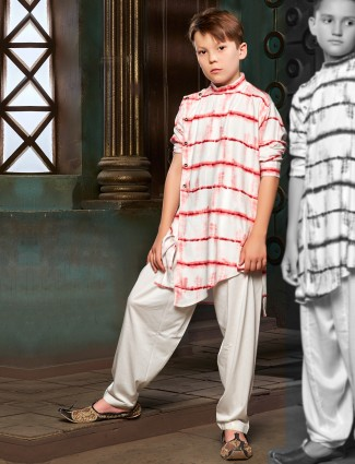 Red and white cotton printed pathani suit