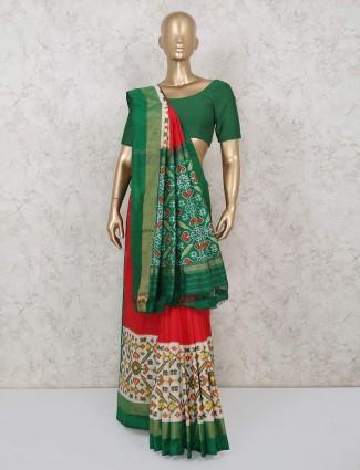 Red and white hydrabadi patola silk saree