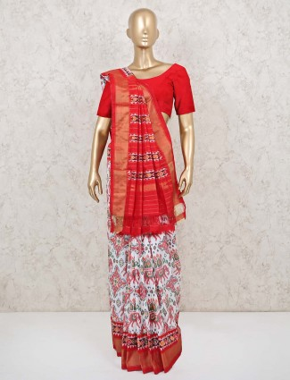 Red and white patola silk saree for wedding