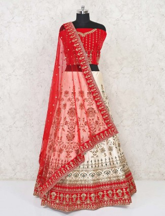 Red and white semi stitched lehenga in silk for bride