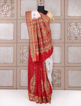 Red and white silk bridal wear saree