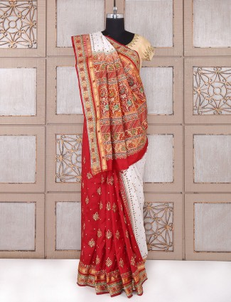 Red and white silk saree for bridal