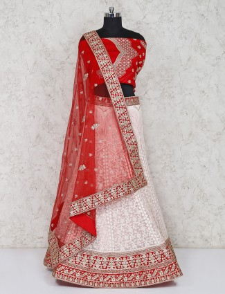 Red and white wedding georgette semi stitched lehenga choli