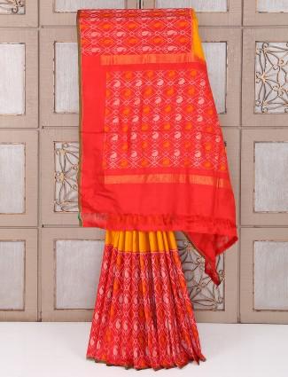 Red and yellow color patola bridal wear saree