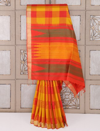 Red and yellow color silk wedding saree