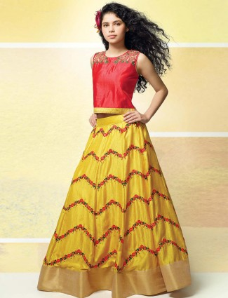Red and yellow raw silk fabric party lehenga choli