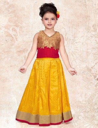Red and yellow silk choli suit