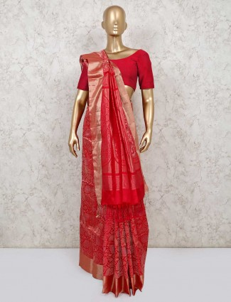 Red banarasi silk saree for wedding days