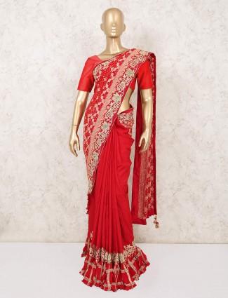 Red bandhej bridal saree design