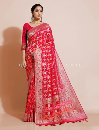 Red bandhej georgette wedding wear saree