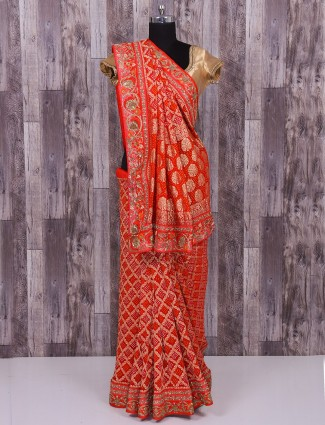 Red bandhej silk saree
