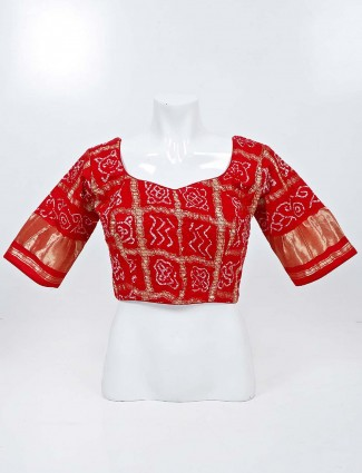 Red bandhej sweetheart neck readymade blouse