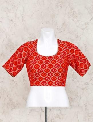 Red bandhej u neck ready made blouse