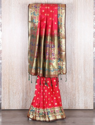 Red bangalore silk wedding wear saree