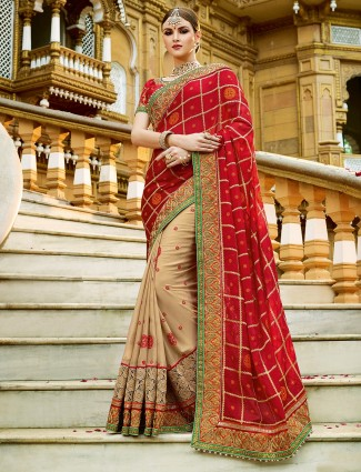 Red beige georgette designer half and half saree