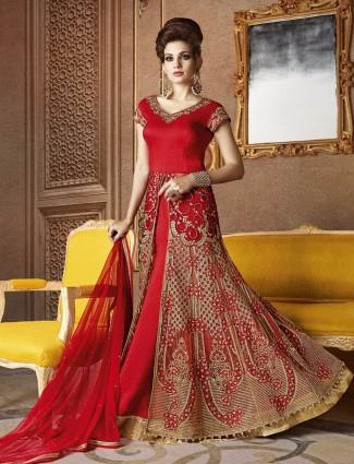 Red beige net party wear semi stitched anarkali suit