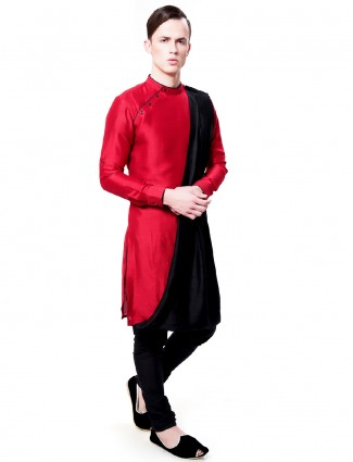 Red black designer kurta suit in silk fabric