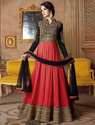 Red black party wear semi stitched long anarkali suit