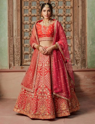 Red bridal pink silk lehenga choli