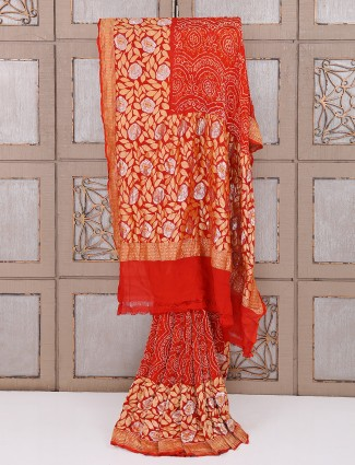 Red bridal wear bandhej saree