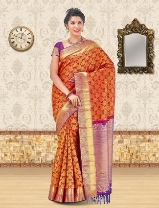 Red bridal wear kanchipuram silk saree