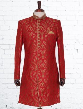 Red brocade classy indo western