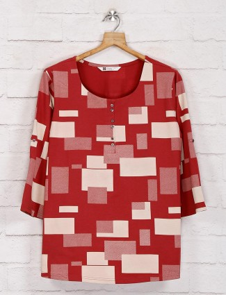 Red casual printed top in cotton