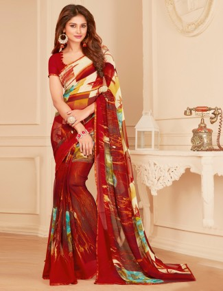 Red casual wear dressy georgette saree