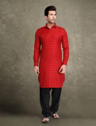 Red checks cotton festive pathani suit