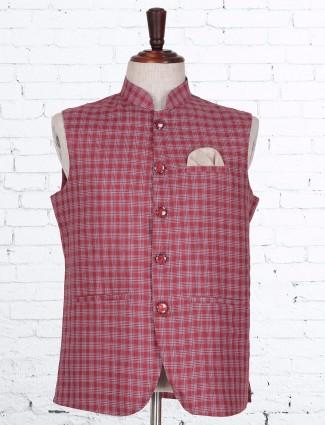 Red checks terry rayon waistcoat