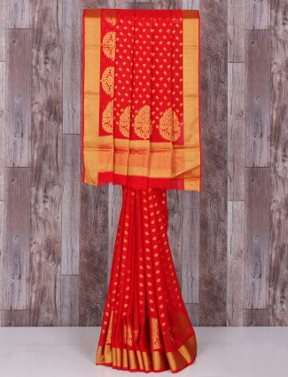 Red chiffon pretty saree