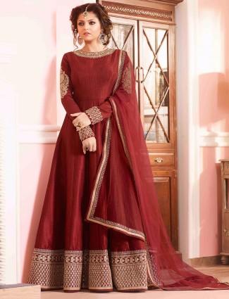 Red classy silk anarkali suit