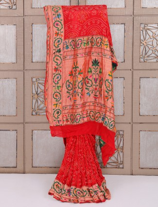 Red color bridal wear bandhej saree