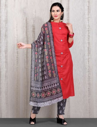 Red color cotton chinese neck punjabi straight cut pant suit