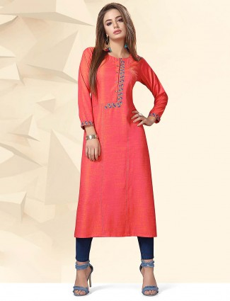 Red color cotton fabric casual kurti