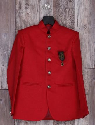 Red color cotton jute blazer