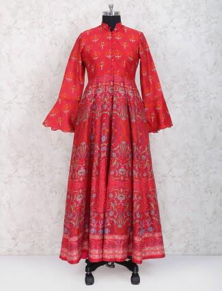 Red color cotton silk fabric anarkali suit