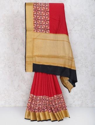 Red color cotton silk fabric festive wear saree