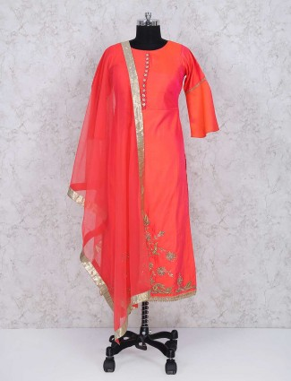 Red color cotton silk sharara suit