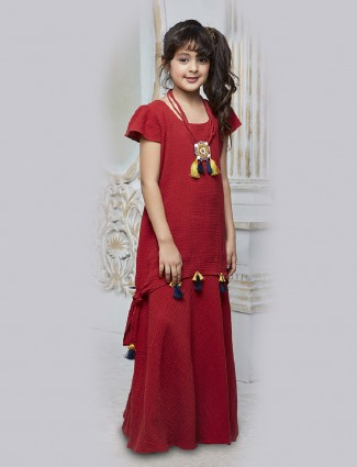 Red color crush fabric gown