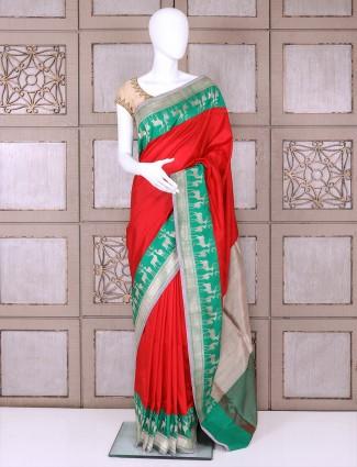 Red color designer banarasi silk saree