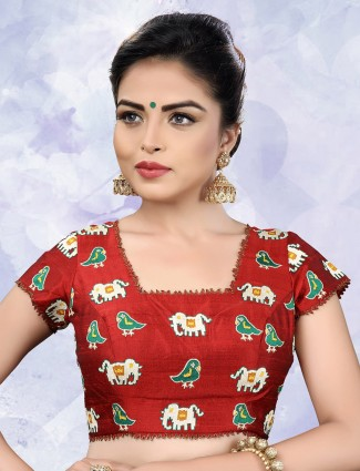 Red color designer ready made blouse