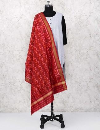 Red color dupatta in gajji silk fabric