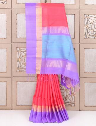 Red color festive wear simple saree